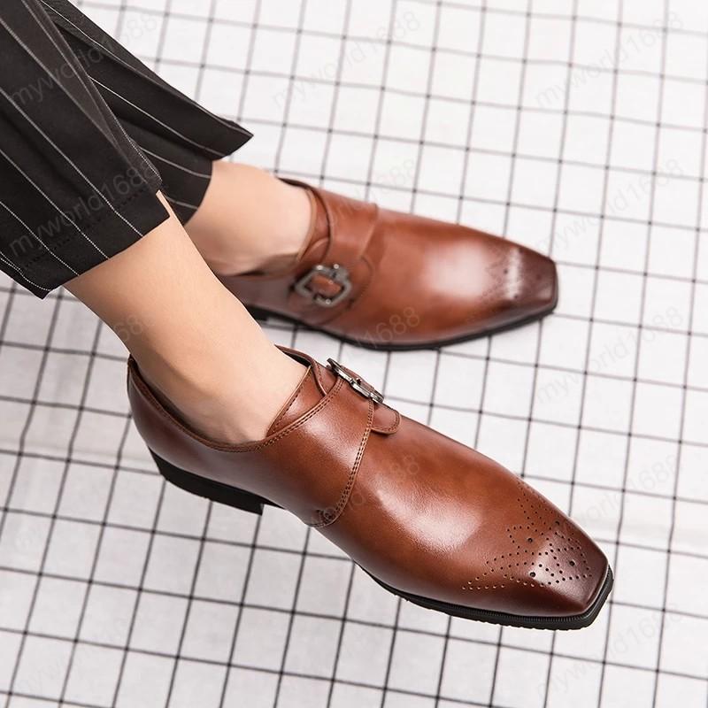 Cinturón hombre monje correa boda zapatos formales cuadrados cabeza cuadrada cabezal oxfords moderno vestido zapatos de gran tamaño 39-48 gota envío