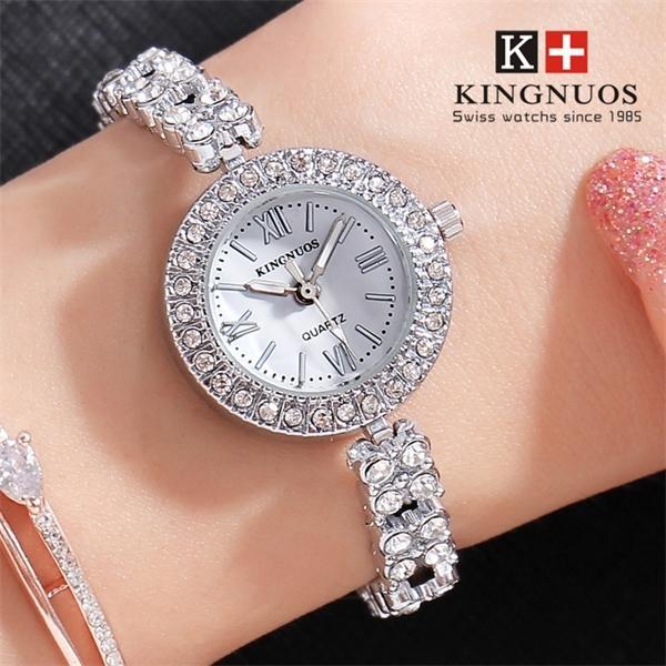 Kingnuos Mulheres High-end Moda de Aço Inoxidável Pulseira Relógio Cristal Analógico Quartzo Relógio Senhoras Esportes Dress Clock J1205