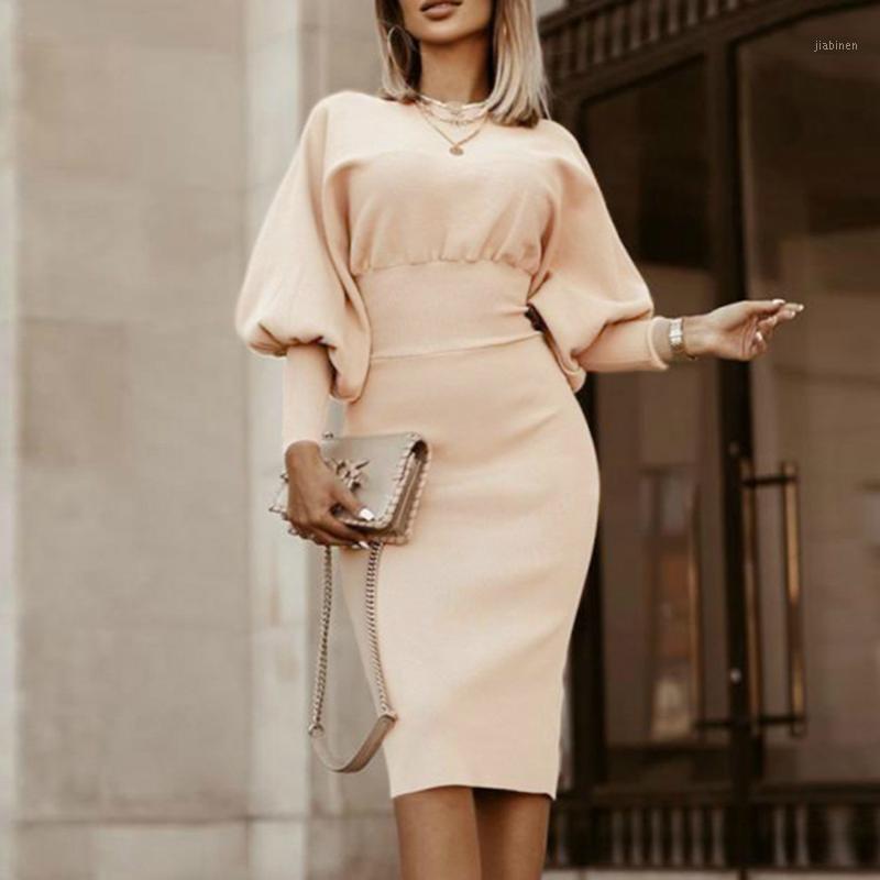 Funda de linterna vintage de mujer Slim Solid Color Funda Otoño Casual Partido elegante Jersey Dressing Dress1