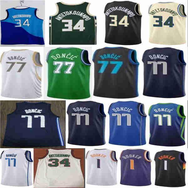 2021 Nova Luka Giannis 34 Devin Antetokounmpo 77 Doncic 1 Booker City Basketball Jersey