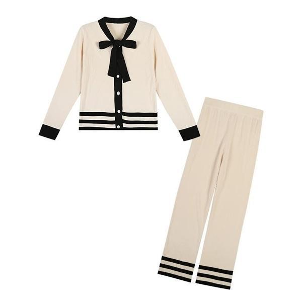 Femmes Swared Sweater costume Ensembles Cardigans tricotés Pantalon Set Set Suchsuits Cravate Cravate Coup de Collier Haut + Pantalon de jambe large 2 Pièce Costume A1112