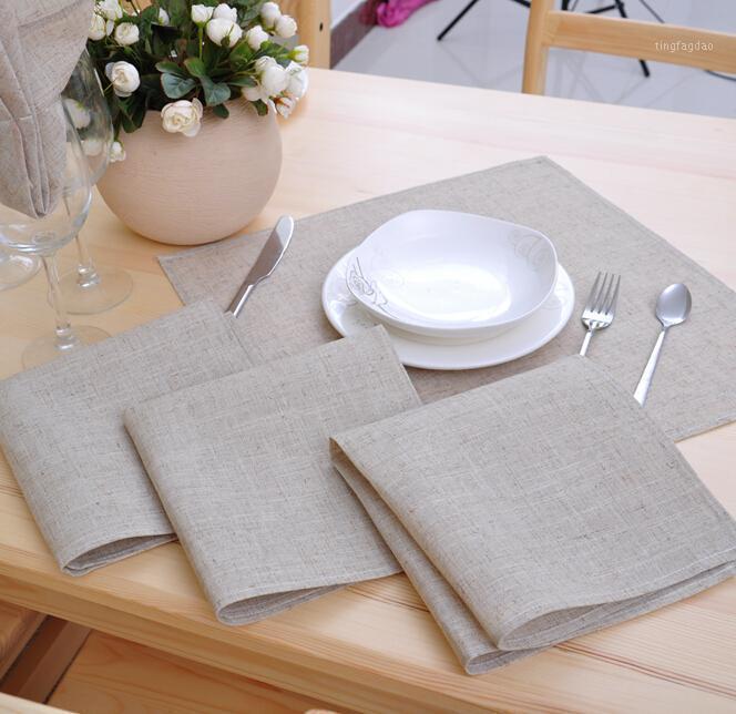 12 шт. / Лот льняные салфетки поли бельневой тканью столовые ужин салфетки 42 * 42 см (16,5x16,5 дюйма) свадьба часть1