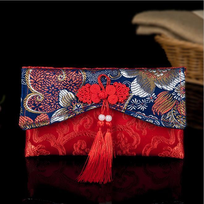 Enveloppe rouge de mariage collection de pièces de monnaie ancienne tissu de soie enveloppe rouge enveloppe broderie broderie enveloppe 11 * 19cm