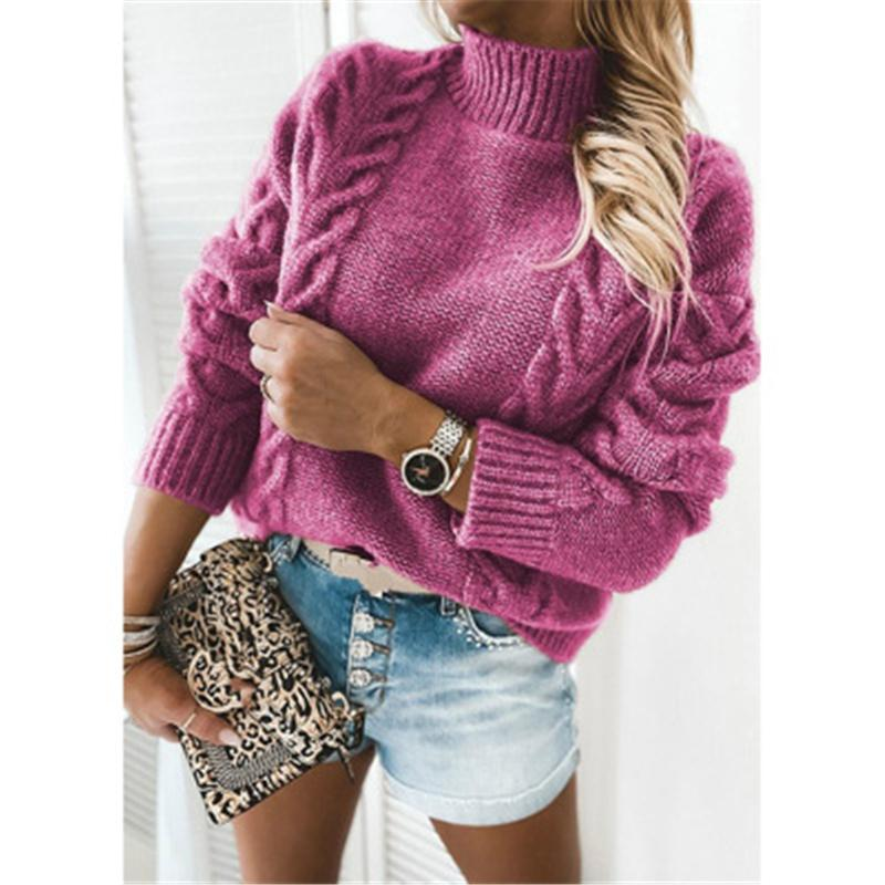 Donne di canapa corda maglione moda moda manica lunga collo alto maglia pullover tops femminile inverno nuovo colore solido maglione sciolto casual