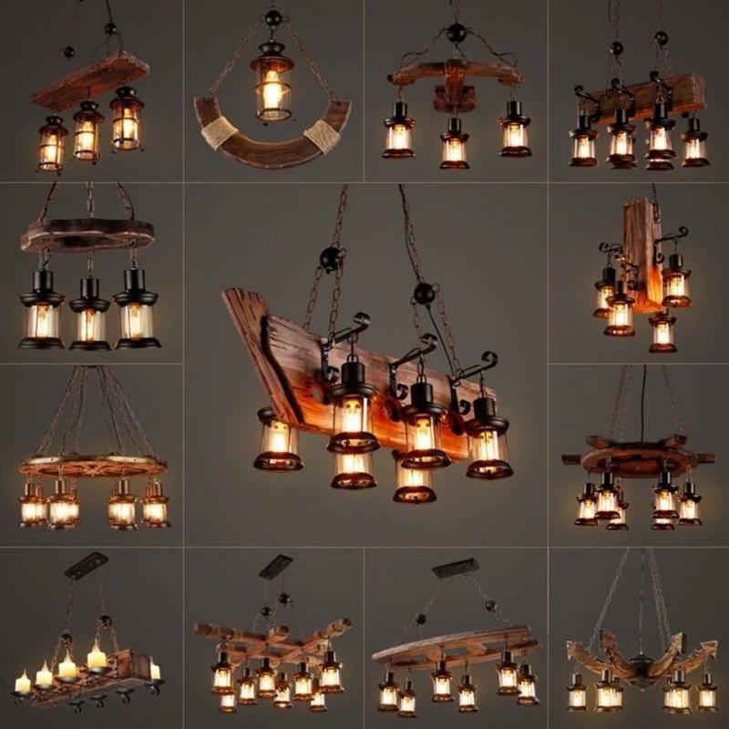 I lampadari di legno rustico industriale retrò americo lampadari del loft bar cucina isola lampadario luster vintage indoor home ciondolo in legno