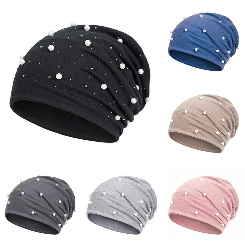 Berretto / cranio Caps Donne Berryie Cappello Casual Polyester Shine Perle Strass Strass Berretti, inverno per tappo a cranchi