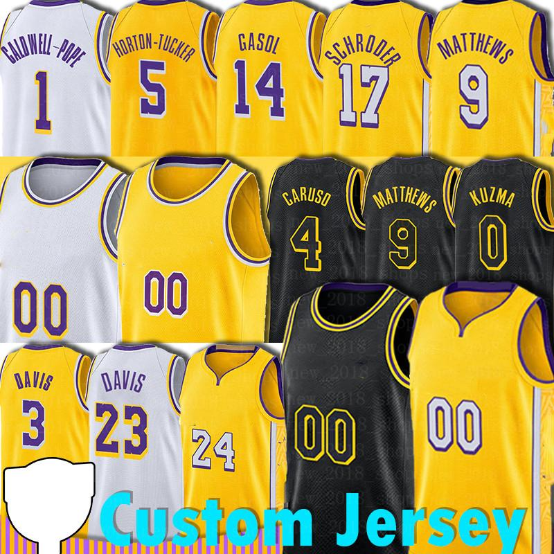 Custom Basketball LBJ Dennis Schroder Trikots Horton-Tucker Alex Marc Caruso Davis Gasol Los Anthony Angeles Jersey Männer 2021 Neu