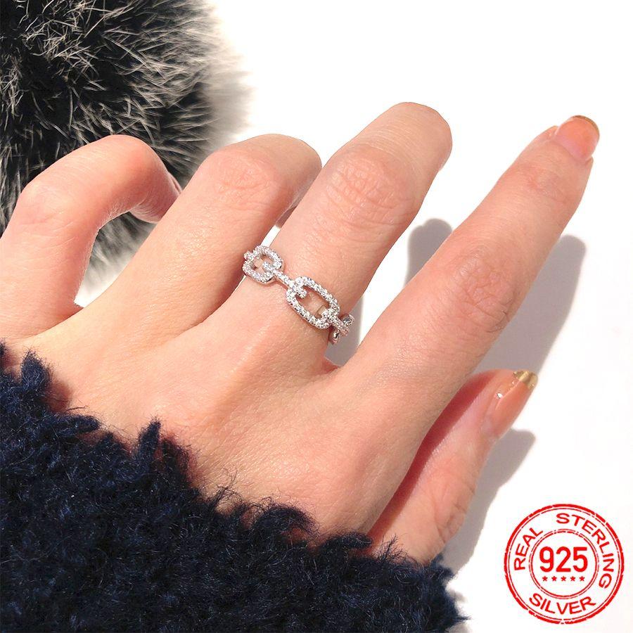 الأزياء 100٪ 925 فضة خواتم سلسلة رابط مختبر الماس الدائري الزفاف خواتم الخطبة مجوهرات هدية للنساء XR450