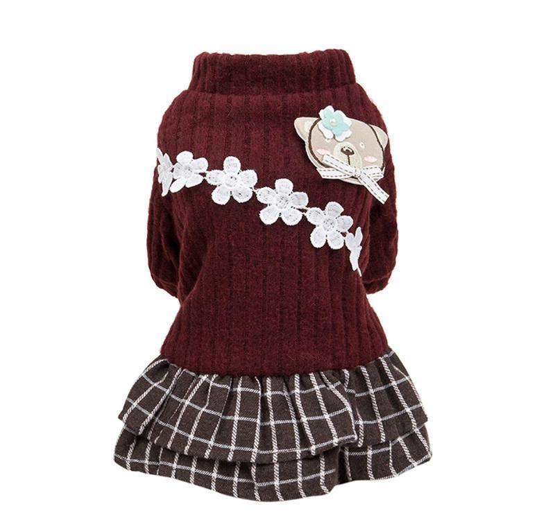 New Fashion Pet Elegant Skirt Autumn And Winter Keep Warm Cat Dog Clothing Plaid Skirt Cat And Do jllEik bdedome