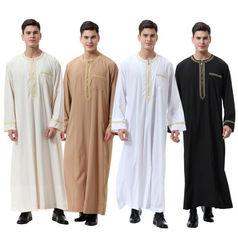 Ropa islámica Hombres Robe musulmán Thabe Throbe Trajes Ramadán Árabe Pakistán Saudí Abaya Dubai Manga completa Kaftan Medio Oriente Jubba
