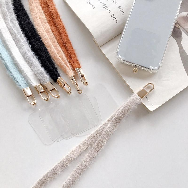 Llush Teléfono Lanyard Otoño Invierno Anticongelamiento Cuerda Colgante Cuello Cuerda Larga Cuerda 2 en 1 Cuerda de Cuerda con Teléfono Post
