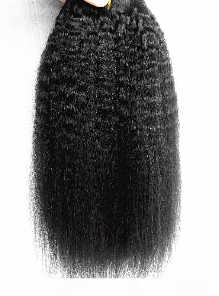 Brasileño Human Virgin Remy Hair Kinky Straight Hair Trama Humano Suave Doble Extensiones de cabello Sin procesar Negro Negro Color