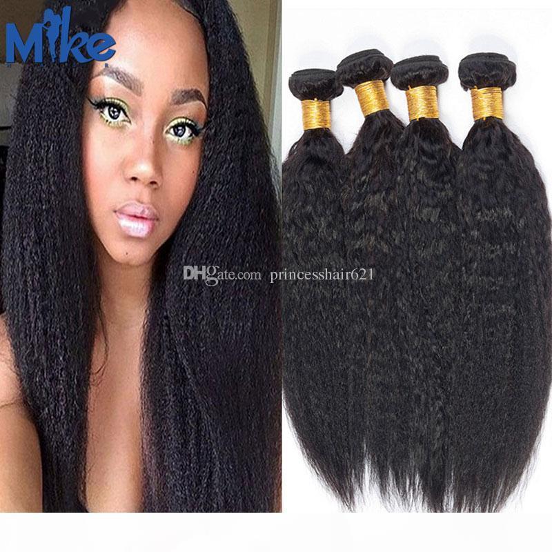 MIKEHAIR 4 BUNDLES Pelo brasileño Kinky Straight Raw Natural Human Hair 8-30in Cabello humano indio peruano no procesado Se puede teñir