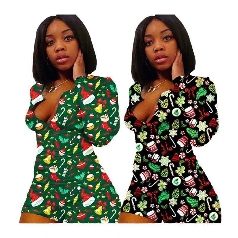 Moda Noel Kadın Tulumlar Uzun Kollu Tulum Şort Santa Claus Kardan Adam Sonbahar Kış Tek Parça Onesies Tulum S-3XL F111805