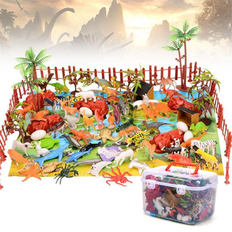 90pcs Dinosaur Toy Figure Activity Play Mat & Trees Realistic Dinosaur Playset Baby Play Mat C0119