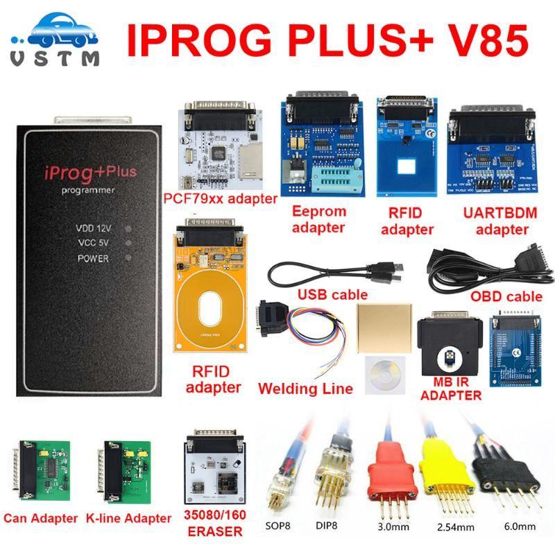 Nuovo IPROG Plus + Adattatori completi + Supporto IPROG V85 Supporto IMMO / Chilometraggio Correzione / Airbag Reset fino a Sostituire lo strumento Diagnostica PROG PROG PROG
