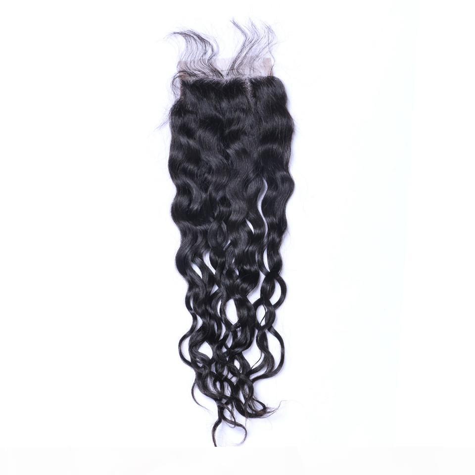 Brasilianische Naturwelle 4x4 Top-Spitzenverschlüsse 100% Menschliches Haar Natürliche schwarze gebleichte Knoten Spitze Schließungen