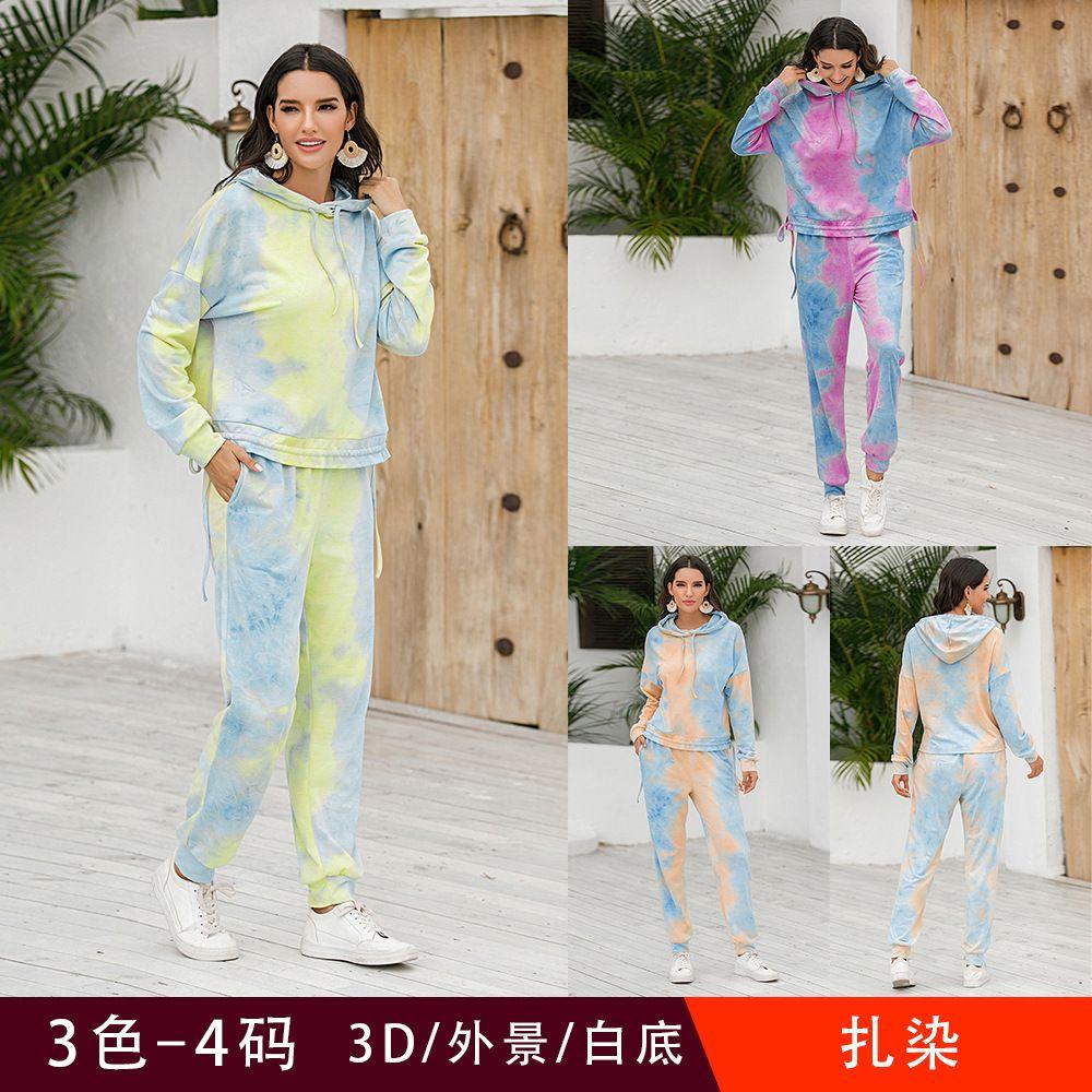 3Colour S-XL 여성 유행 새로운 가을과 겨울 Drawstring 후드가없는 긴팔 타이 염료 캐주얼 스포츠 정장 스웨터 톱 59620595695435