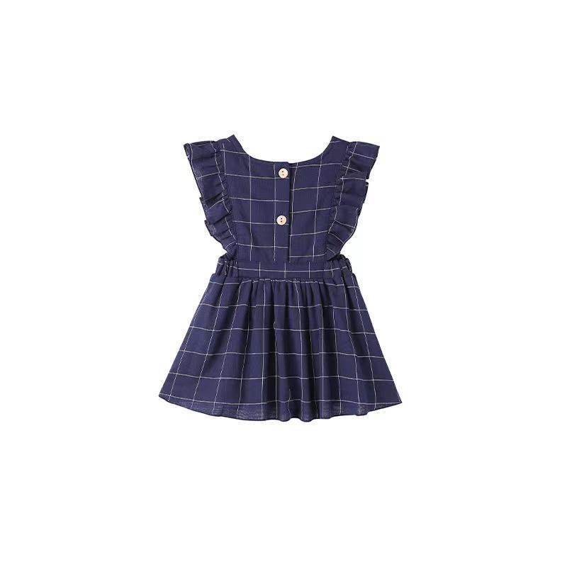 Brg ins muslin корейские австралии платья хлопчатобумажные клетки ruffles fly рукав дети девочки курить назад кнопки платье для 0-6t