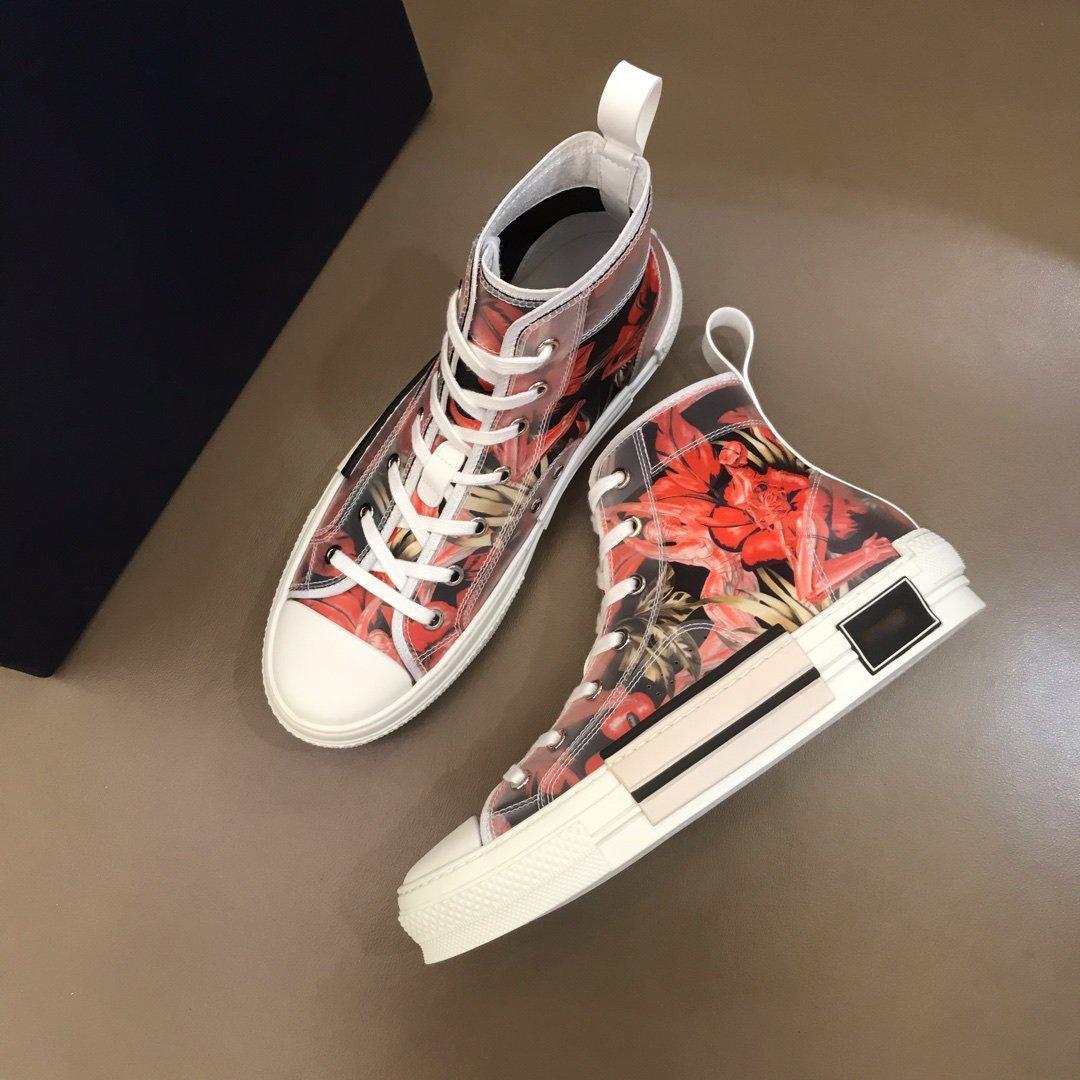 Nova moda linda alta qualidade multicolor gradiente Tecido Técnico High para sapatos homens mulheres casuais sapatos