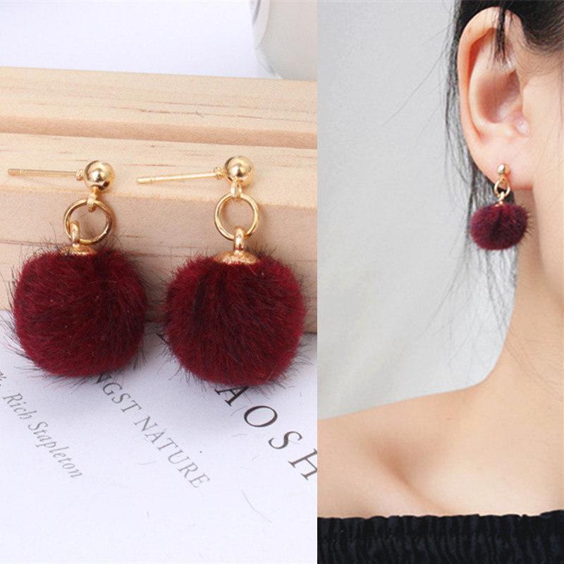 2020 NOUVELLES ARRIVÉRES Boucles d'oreilles à boulets de boule de poils en métal pour femmes chaudes Bijoux Simple Peluche Boucles d'oreilles pour femmes bijoux