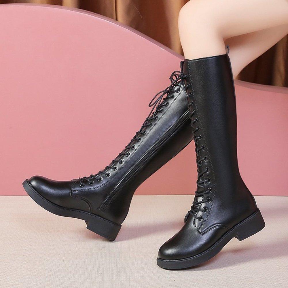 RIMOCY إمرأة بو الجلود الركبة عالية الأزياء الدانتيل يصل زيبر الخريف الشتاء الأحذية الإناث جولة تو مربع الكعوب منصة الأحذية