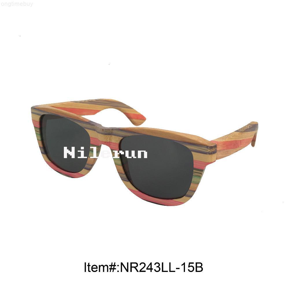 Gafas de sol de bambú multi de moda de color de mujer