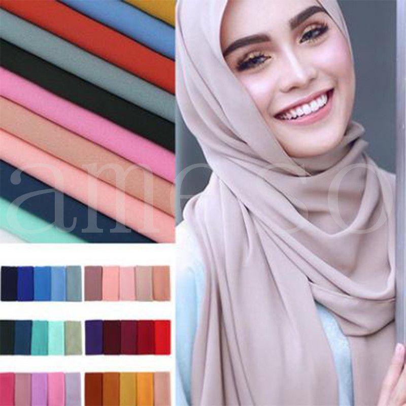 Женщины Обычный Пузырь Шифон Шарф Hijab Обертываю Сплошные Цветные Шали Оголовье Мусульманские Хиджабы Шарфы / Шарф 78 Цветов DB344