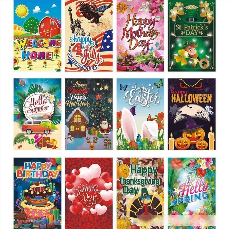 Yeni 12 Serisi Cadılar Bayramı Noel Bahçe Bayrağı Açık Bayrak Parti Süslemeleri A178