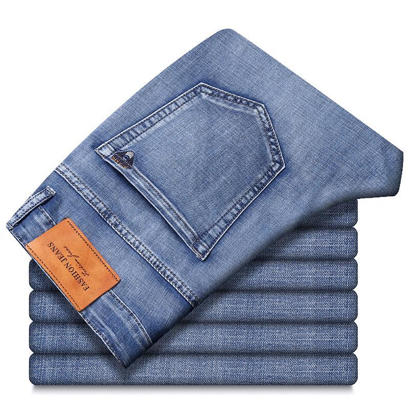 2021 Primavera verão esticar straight fit jeans calças jeans homens marca novo estilo calças homens desgaste