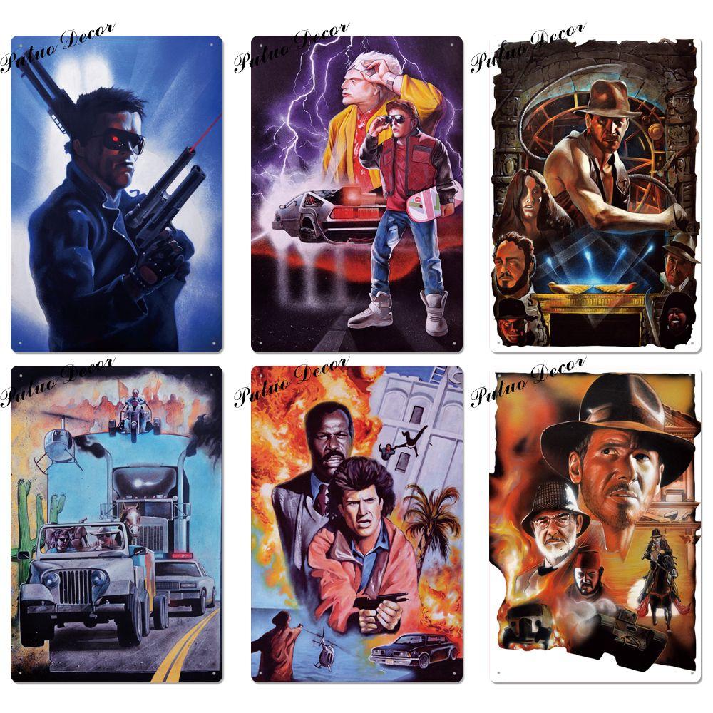 2021 Classic Film Affiche murale en métal Maison murale Plaque Métal Vintage Mur Vintage Décor pour Bar Pub Club Man Cave Rétro Panneaux de film 20x30cm