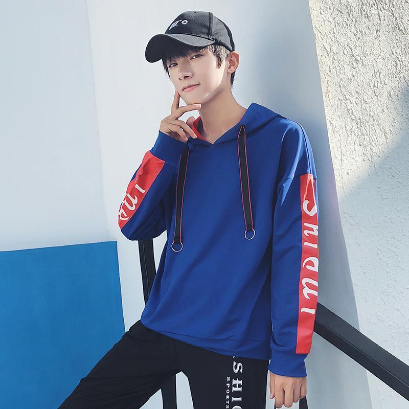 Bahar Hoodies Erkekler Rahat Kazak Streetwear Hip Hop Gevşek Kazak Harajuku Sonbahar Öğrenci Mektubu Dikiş Renk Clothes1