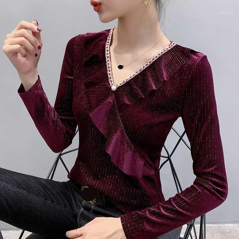 Ruffles Solid T Shirt Women 2020 Spring Autumn Vintage V Neck Velvet Long Sleeve Warm Blusa1