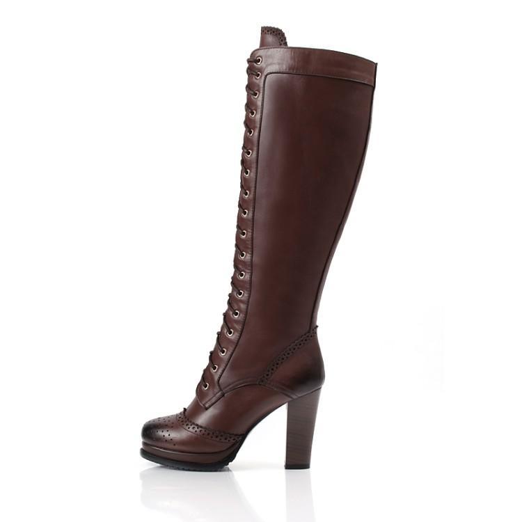 Enmayer Hohe Qualität Sexy Winterstiefel Designer Frauen Oberschenkel Hohe Stiefel Neue Lace Up Knie Corium Boot High Heel Retro Ritterstiefel