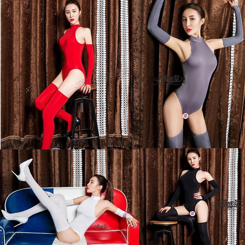 DROZENO Seksi Üç Parçalı Suit Tek Parça Iç Çamaşırı Yüksek Boyun Fermuar + Eldiven + Çorap Buz Ipek Açık Kasık Yüksek Çatal Z1210
