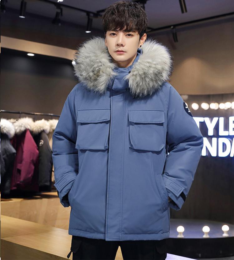 2021 Новый новый отапливаемый гусиной мужской куртка высшего качества меховой воротник с хлопком с капюшоном зимой Datero Power Down Parka Jackets 88WZ