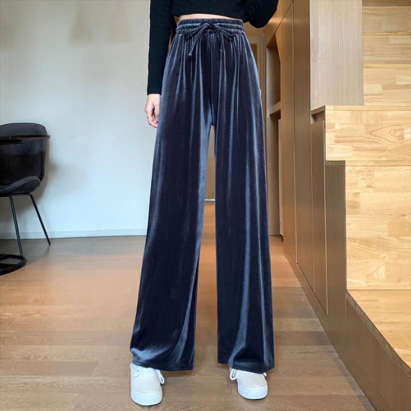 2020 Yeni Sonbahar Yüksek Bel İpli Rahat Pantolon Kadın Moda Velet Gevşek Pantolon Kadın Katı Geniş Bacak Streetwear Pantolon
