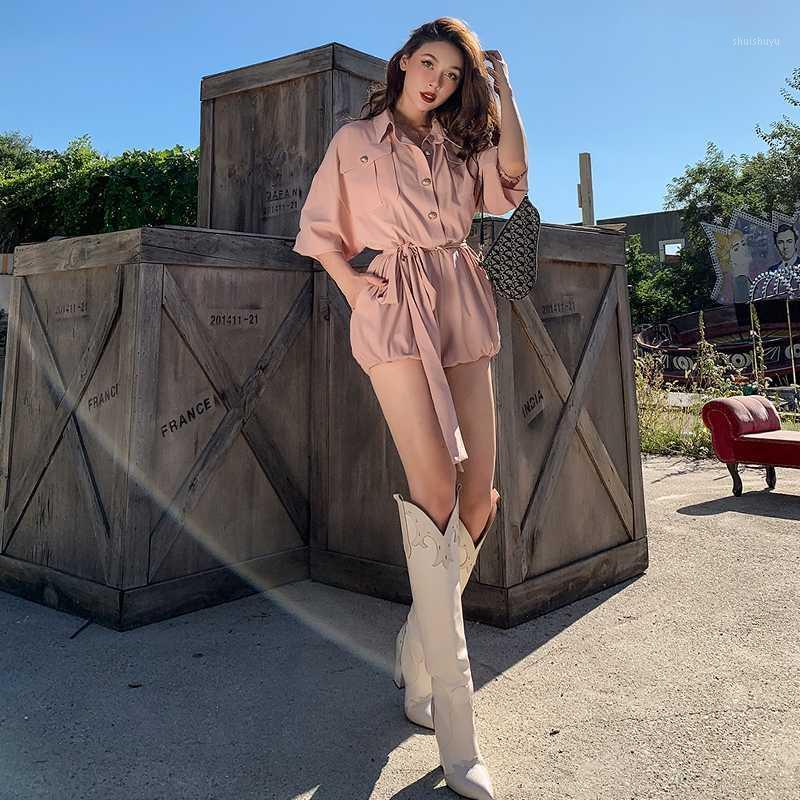 Le Palais Vintage 2020 Originent Drape Nu Rose Rose Collection Taille Lanterne Sleeve Pumpkin Combinaison Combinaison Playsuits occasionnels1
