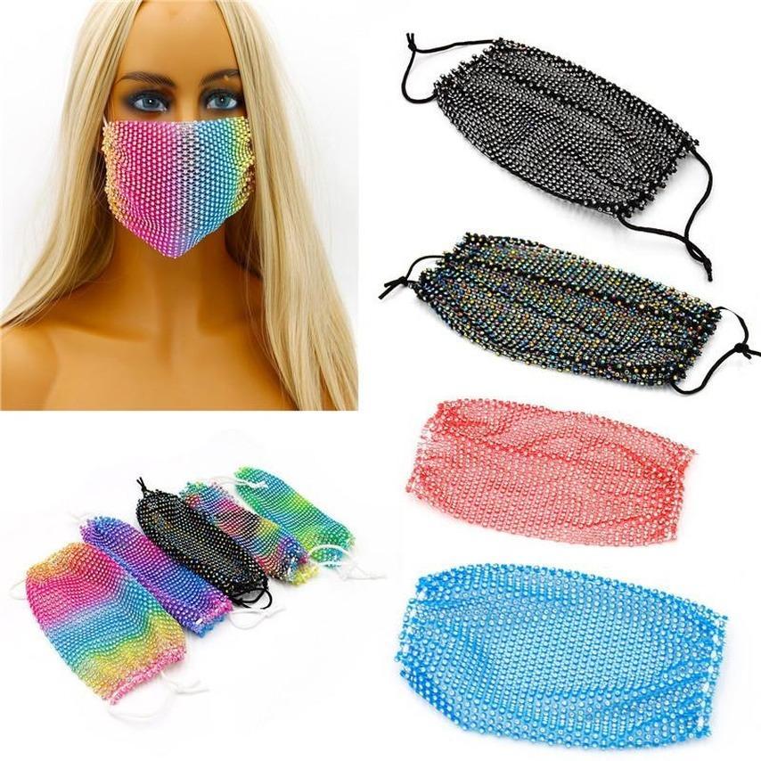 Bling Diamond Yüz Net Yüz 2021 Maske Balıkçılık Moda Trend Gece Kulübü Bar Rhinestones Maskesi Yıkanabilir Yeniden kullanılabilir Maske Bling