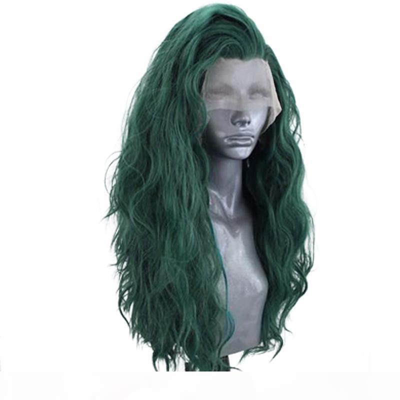 الأخضر الباروكات جانبية الجزء موجة المياه الاصطناعية الرباط الباروكة الجبهة مع شعر الطفل مقاوم للحرارة من ألياف الشعر تأثيري الباروكات للنساء