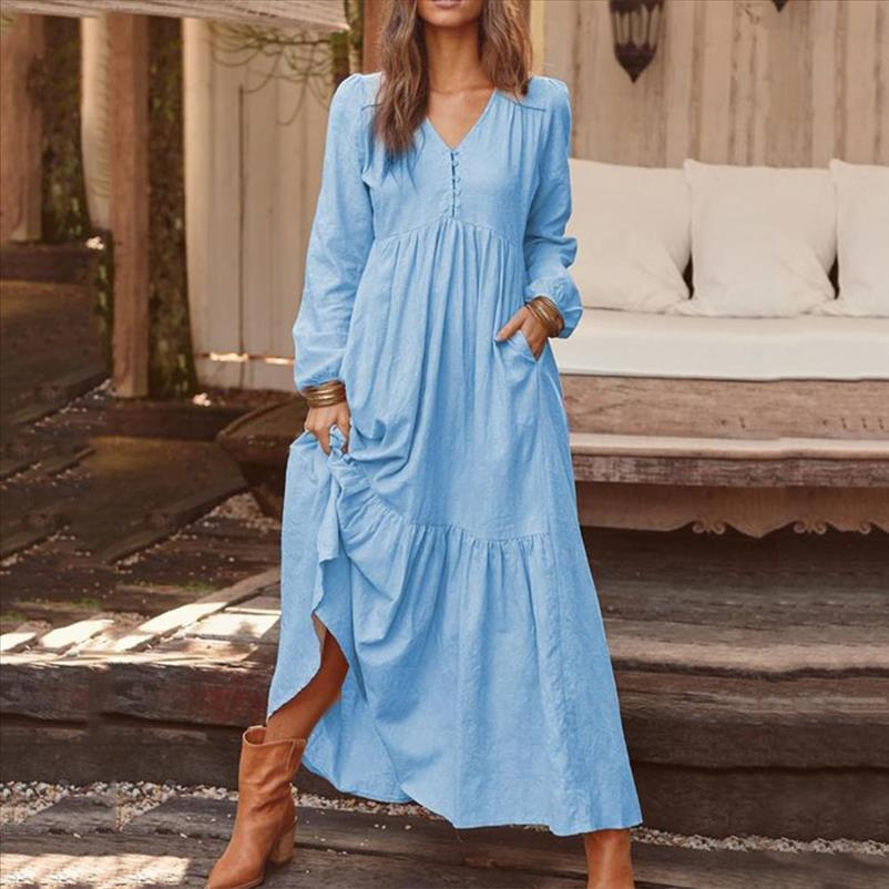 Dress Women V neck cotton and linen retro casual solid color long sleeve long dress Drop Shipping