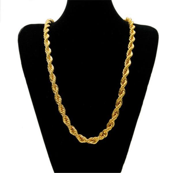 هيب هوب 80 'للجنسين مغني الراب 8، 10، 12mm قلادة سلسلة حبل الجوف في الذهب، نغمة الفضة
