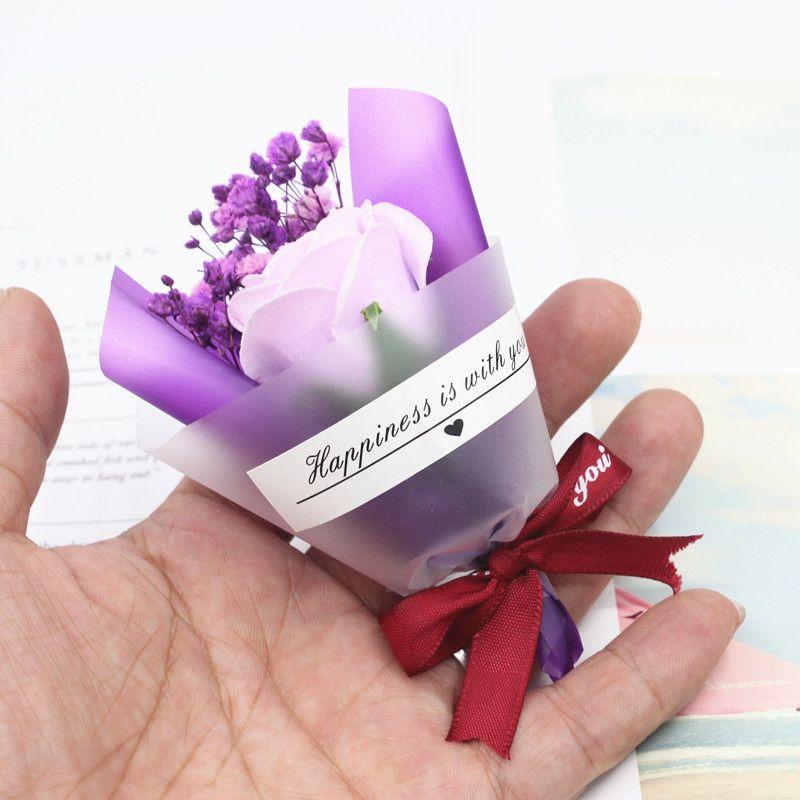 مصغرة عيد الحب هدية مجففة زهرة اصطناعية مزيفة الجبسوفيلا باقة الإبداعية الأبدية الجبسوفيلا باقة الصابون زهرة GWB4231