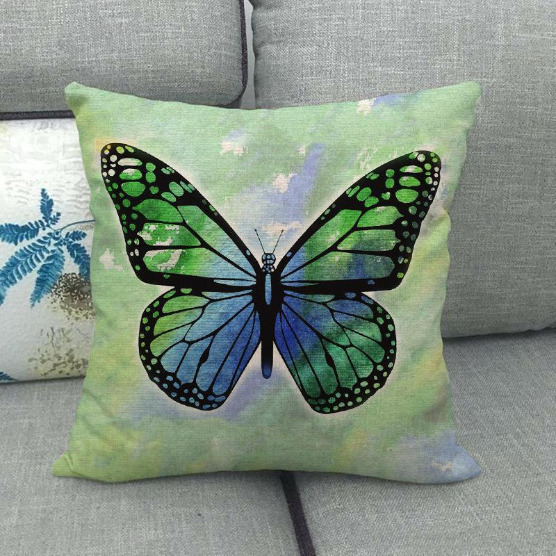 Прекрасная бабочка напечатанная подушка крышки дома декоративные подушки чехлы 45x45см белье сиденье задняя постельное белье декор наволочки OWA3067