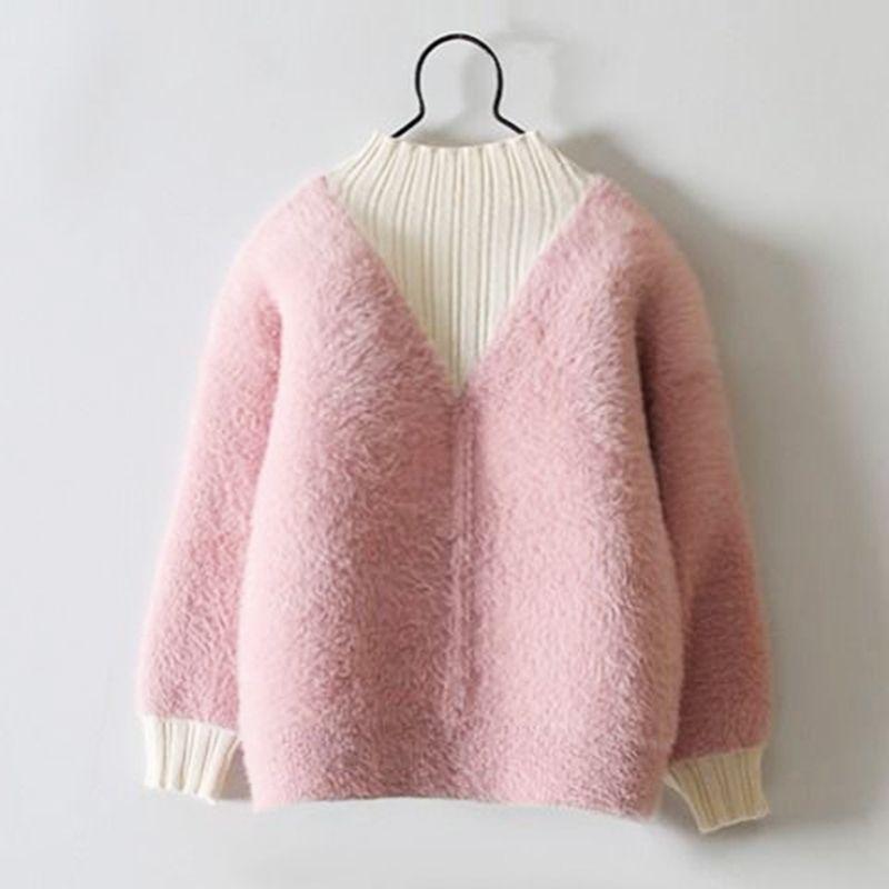 Одежда для девочек Теплая детская рубашка для детей зимние Топы Мода Детские повседневные свитера с длинным рукавом Детская одежда плюшевая трикотаж 201104