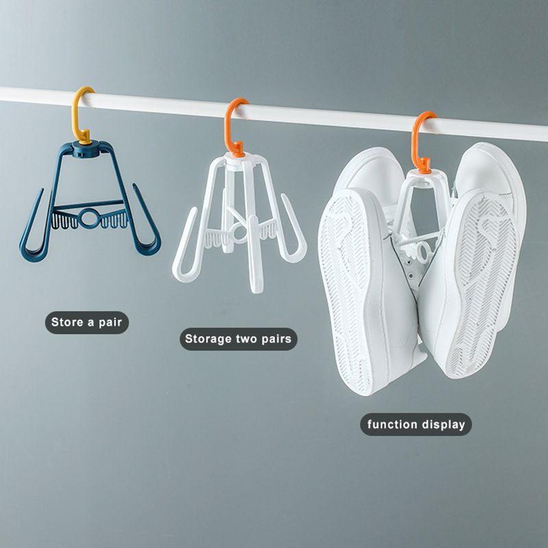 Shoe Drying Rack Windproof Shoe Rack Sun Drying Hook Multifunctional Double Hook Shoe Drying Rack Superimposed Rotating Hanger