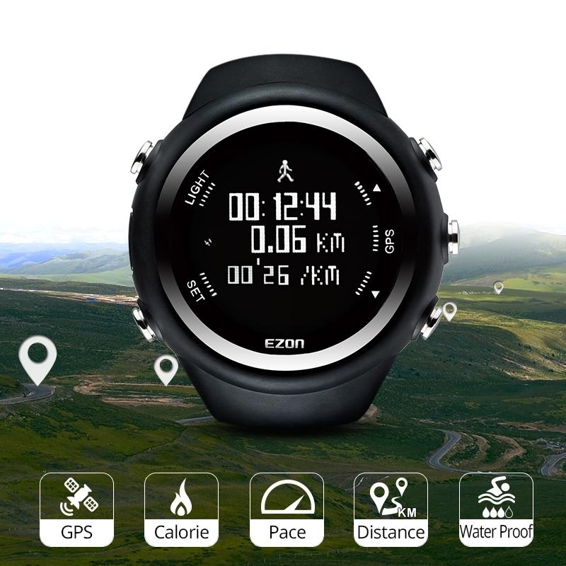 Homens Digital Sport Watch GPS Running Watch com velocidade ritmo Distância Distância Calorie Burning Cronômetro à prova d'água 50m Ezon T031 201204