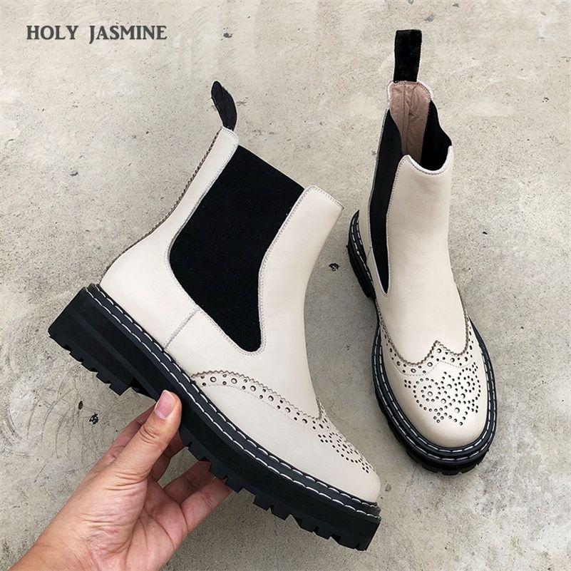 2020 botas planas para mujer moda de moda de cuero genuino elástico botas botas blues zapatos mujer fretwork ladies breve martin botas negro nuevo lj201214
