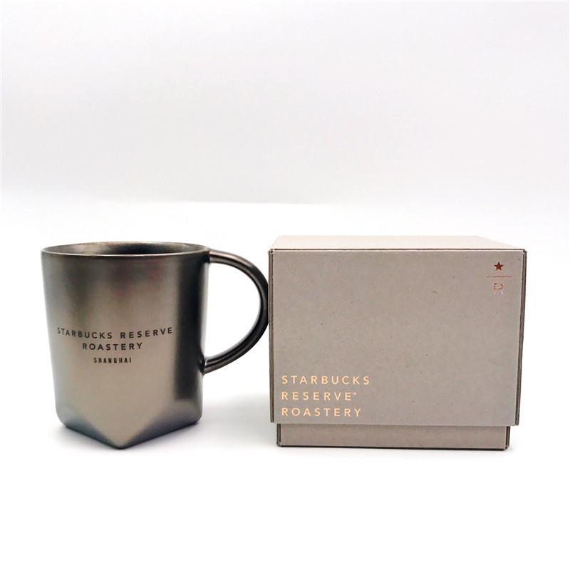 16oz 473ml Starbucks Reserve Roastery Shanghai Ceramics Mug High Quality Dark Gold Metallic Color Coffee Cup