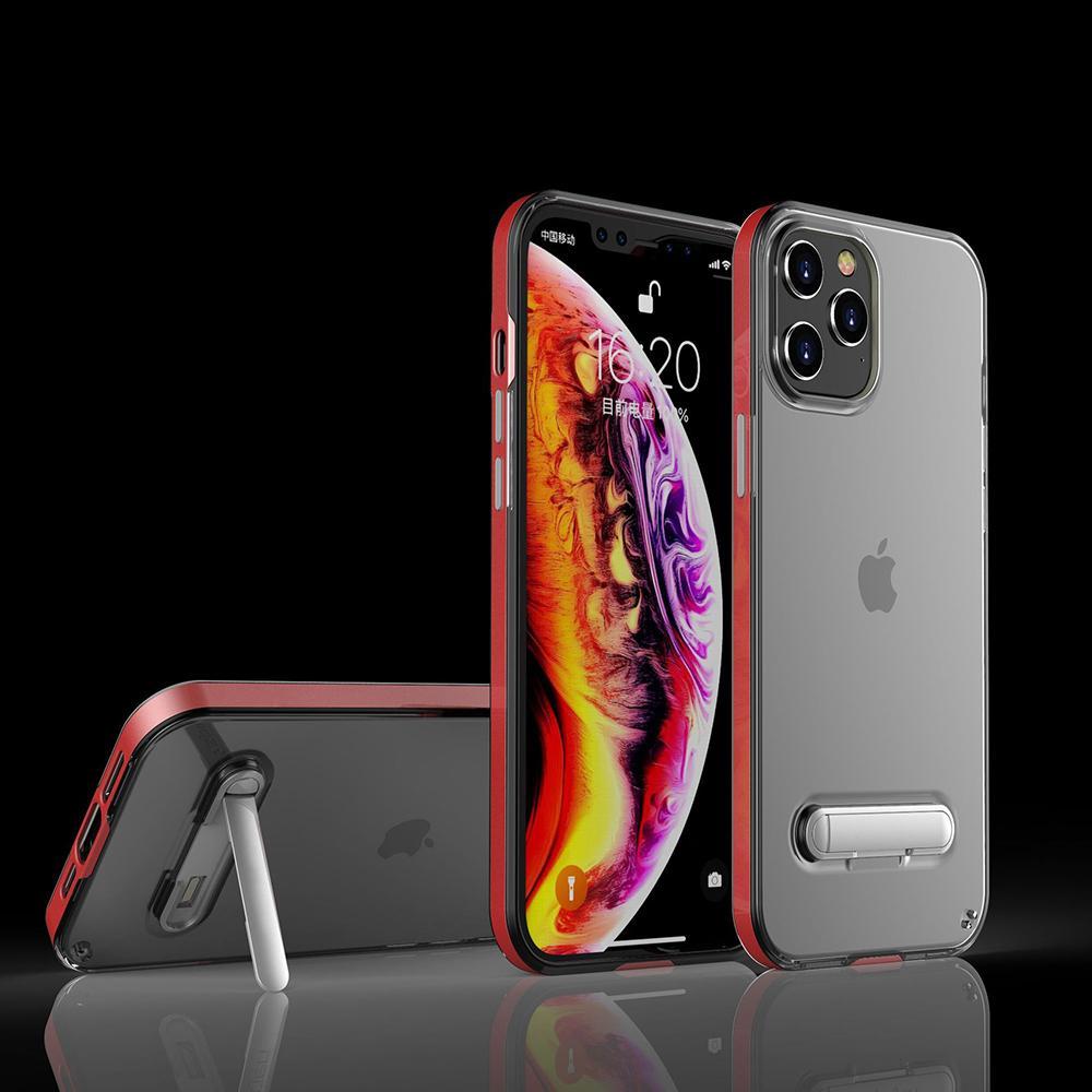 Lüks Kalite iPhone12Pro Şeffaf Cep Telefonu Kılıfı Apple Katı Renk Standı Için Apple 12 Koruyucu Kılıf Cep Telefonu Kılıfları